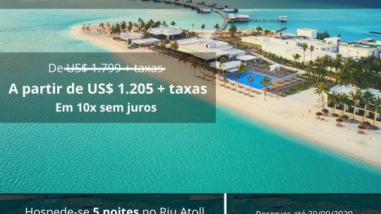 Riu Atoll Maldivas prorroga promoção 45% off; confira
